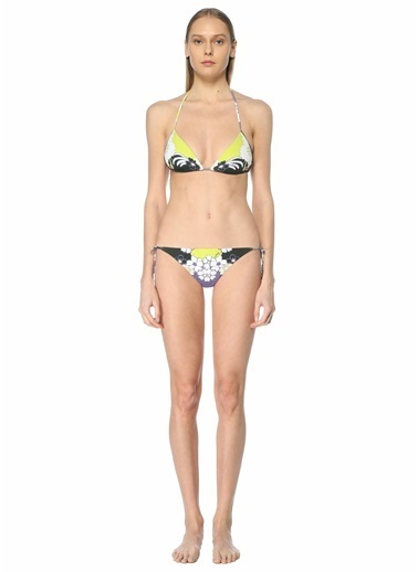 Valentino Valentino Çiçekli Üçgen Bikini Takımı 101640109 Beyaz